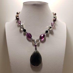 Purple Lia Sophia Beaded, Black Pendant Necklace.